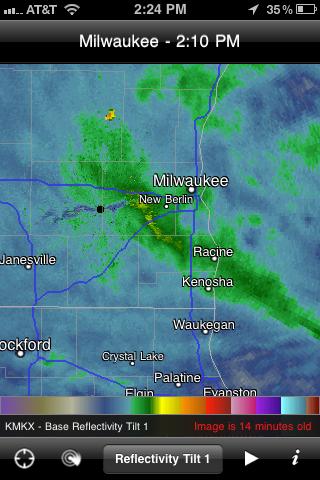 Snow across Waukesha County, Wisconsin - Nexrad Radar - January 12