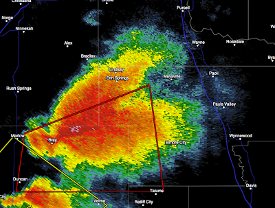Hook Echo shown as Tornado is on the ground near Marlow, Oklahoma