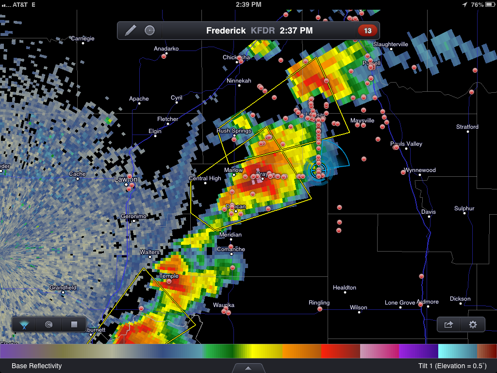 Supercell Thunderstorm becomes Tornadic on Radar near Duncan, Oklahoma
